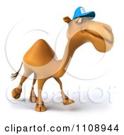 Clipart 3d Camel Wearing A Hat And Walking Royalty Free CGI Illustration