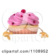 Clipart 3d Cupcake With Pink Frosting And Red Dots With A Sign Royalty Free CGI Illustration
