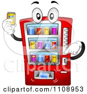 Clipart Soda Vending Machine Mascot Holding A Drink Royalty Free Vector Illustration