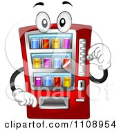 Clipart Soda Vending Machine Mascot Inserting A Coin Royalty Free Vector Illustration
