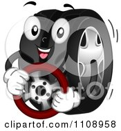 Clipart Happy Automotive Tire Mascot Holding A Steering Wheel Royalty Free Vector Illustration