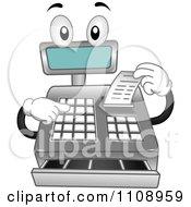 Cash Register Mascot Getting A Receipt