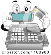 Cash Register Mascot Holding A Credit Card