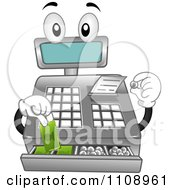 Clipart Cash Register Mascot Getting Change Royalty Free Vector Illustration