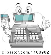 Cash Register Mascot Holding A Scanner Tool