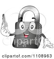 Clipart Happy Padlock Mascot Holding A Key Royalty Free Vector Illustration