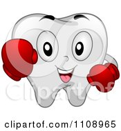 Happy Dental Tooth Mascot Wearing Boxing Gloves
