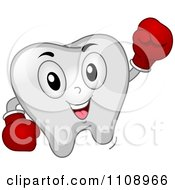 Happy Punching Dental Tooth Mascot Wearing Boxing Gloves