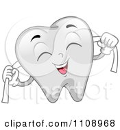 Clipart Happy Dental Tooth Mascot Flossing Royalty Free Vector Illustration by BNP Design Studio