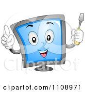 Computer Repair Screen Mascot With A Screwdriver