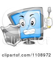 Computer Screen Mascot With A Shield Screwdriver