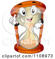 Clipart Happy Hourglass Mascot Holding A Thumb Up Royalty Free Vector Illustration