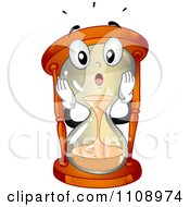 Happy Hourglass Mascot Running Out Of Time