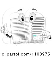 Clipart Happy Air Conditioner Mascot Holding A Thumb Up Royalty Free Vector Illustration
