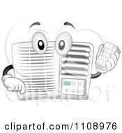Clipart Happy Air Conditioner Mascot Holding A Remote Control Royalty Free Vector Illustration