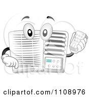 Happy Air Conditioner Mascot Holding A Remote Control