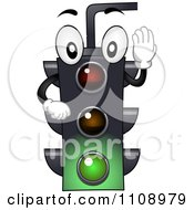 Happy Traffic Light Mascot Shining Green