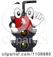 Clipart Happy Traffic Light Mascot Shining Red Royalty Free Vector Illustration