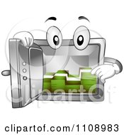 Clipart Vault Mascot With Cash Royalty Free Vector Illustration by BNP Design Studio