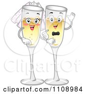 Clipart Happy Champagne Glass Bride And Groom Royalty Free Vector Illustration