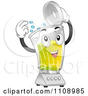 Clipart Happy Blender Mascot Tossing In Ice Cubes Royalty Free Vector Illustration by BNP Design Studio