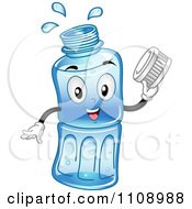 Clipart Happy Bottled Water Mascot Holding A Cap Royalty Free Vector Illustration