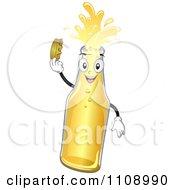 Happy Beer Bottle Mascot Holding Its Cap