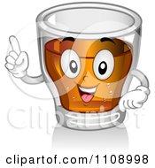 Shot Glass Mascot Holding A Finger Up