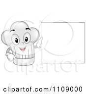 Happy Chef Hat Mascot With A Blank Menu Sign