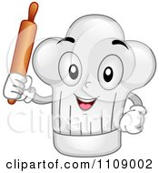 Happy Chef Hat Mascot Holding A Rolling Pin