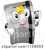 Clipart Happy Credit Card Mascot Holding A Cell Phone Royalty Free Vector Illustration