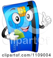 Clipart Happy Credit Card Mascot Holding Cash And A Thumb Up Royalty Free Vector Illustration