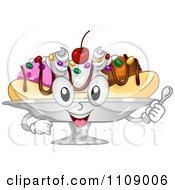 Clipart Happy Banana Split Dessert Mascot Royalty Free Vector Illustration by BNP Design Studio