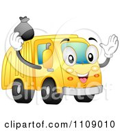 Happy Garbage Truck Mascot Tossing A Bag Into Its Container