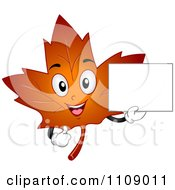 Happy Autumn Maple Leaf Mascot Holding A Sign