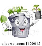 Clipart Happy Garden Bucket Mascot Royalty Free Vector Illustration