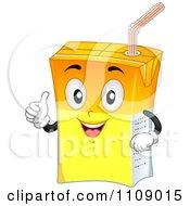 Clipart Juice Box Mascot Holding A Thumb Up Royalty Free Vector Illustration