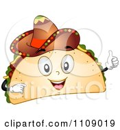 Happy Taco Mascot Holding A Thumb Up And Wearing A Sombrero