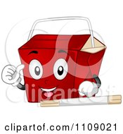 Clipart Chinese Food Take Out Box Mascot Royalty Free Vector Illustration