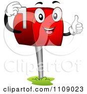 Clipart Happy Mailbox Mascot Lifting Its Flag And Holding A Thumb Up Royalty Free Vector Illustration by BNP Design Studio