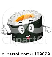 Clipart Happy Maki Sushi Mascot Holding A Thumb Up Royalty Free Vector Illustration by BNP Design Studio