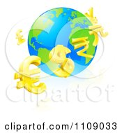 Clipart 3d Gold Currency Signs Floating Around A Globe Royalty Free Vector Illustration