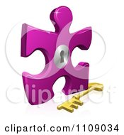 Poster, Art Print Of 3d Purple Puzzle Piece Lock With A Skeleton Key