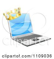 Clipart 3d Kings Crown On A Laptop Royalty Free Vector Illustration