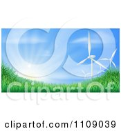 Clipart 3d Wind Turbines And Sunshine Over Grassy Hills For Green Sustainable Energy Royalty Free Vector Illustration