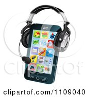 Clipart 3d Headset On A Cell Phone With App Icons Royalty Free Vector Illustration by AtStockIllustration