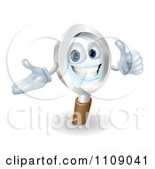Clipart 3d Pleased Magnifying Glass Mascot Holding A Thumb Up Royalty Free Vector Illustration