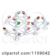 Clipart Network Of 3d Avatar People With Flags Royalty Free Vector Illustration