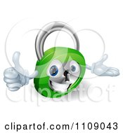 Clipart 3d Happy Padlock Holding A Thumb Up Royalty Free Vector Illustration