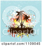 Clipart Grungy Palm Trees Splatters And Text Bar Over Blue With Halftone Royalty Free Vector Illustration